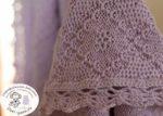 Плед в 4 нити. цвет 22164 - бледно-сиреневый. Машинное вязание, обвязка крючком